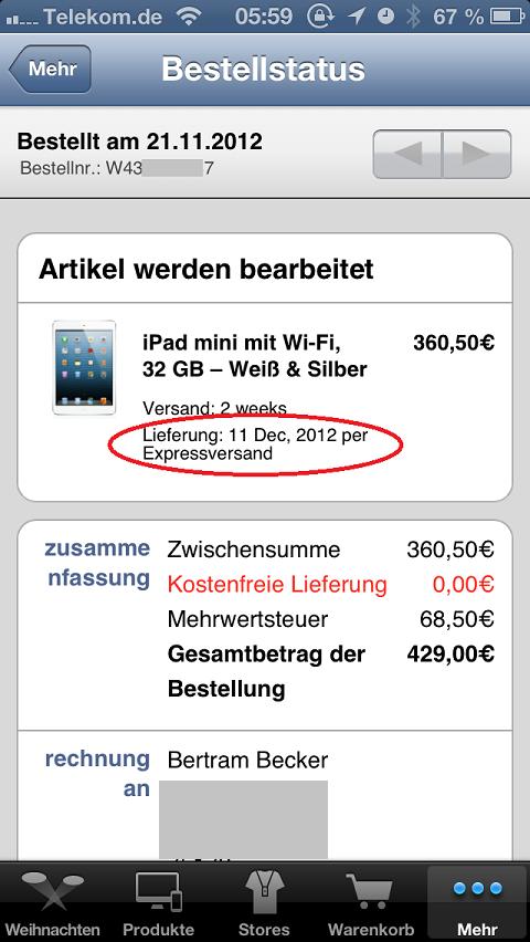 iPad mini Bestellung via App