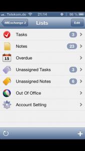 IMExchange 2 synct Notizen und Aufgaben eines Exchange-Kontos