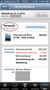 iPad mini wurde am 29.11.12 versandt