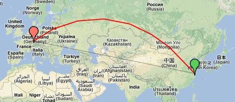 Luftlinie Shanghai - Pforzheim