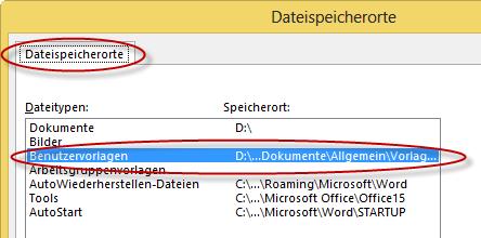 Word Dateispeicherorte