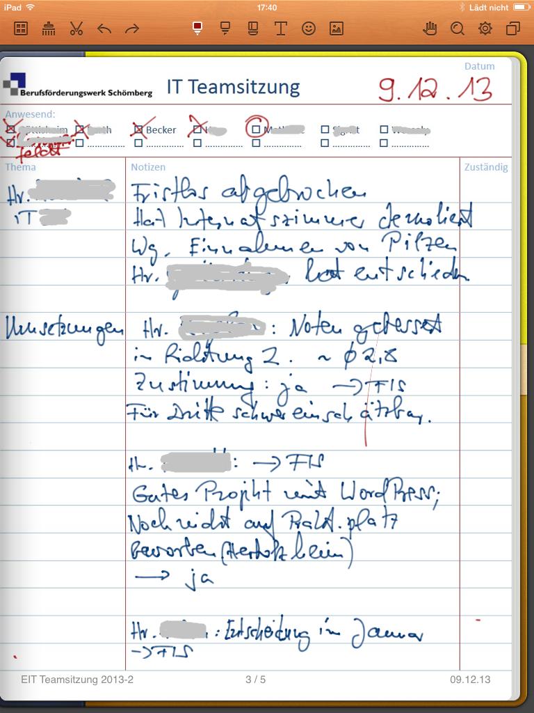 """Handschriftliche Notizen und individulle Formulare als Hintergrund mit """"Noteshelf"""" auf dem iPad."""