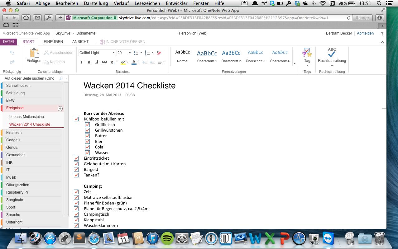 "OneNote unter Mac OS X 10.9 im Webbrowser Safari auf dem MacBook Pro 13"""