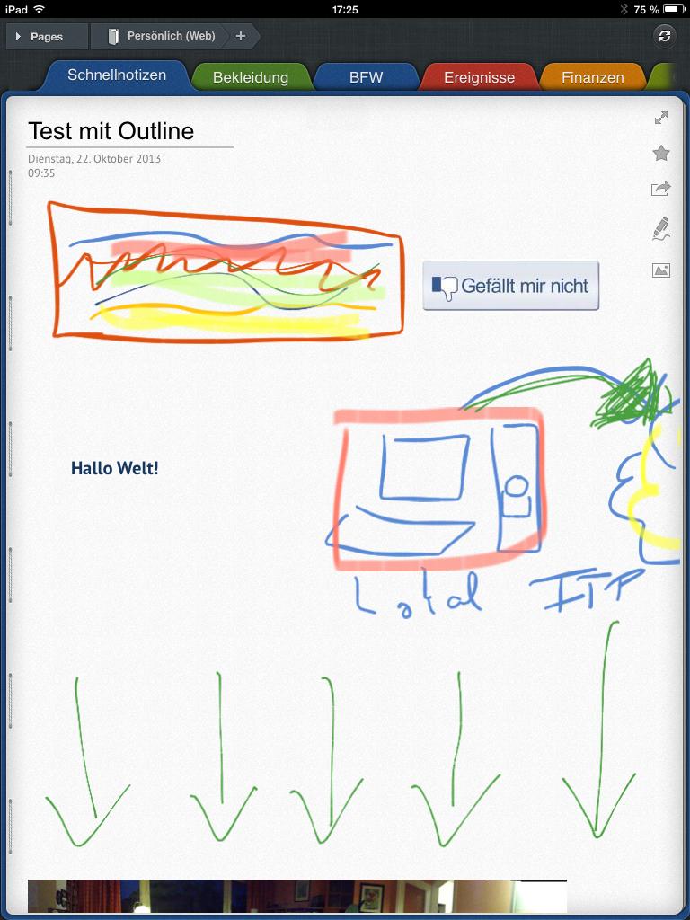 """Handschriftliche Notizen UND Kompatibiltät zu OneNote mit """"Outline+"""" auf dem iPad."""
