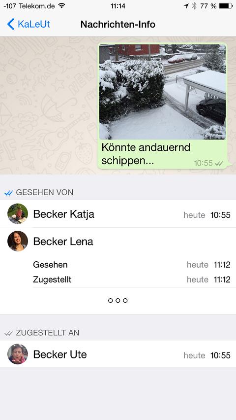 Zugestellt- und Gelesen-Info bei Gruppen-Chats