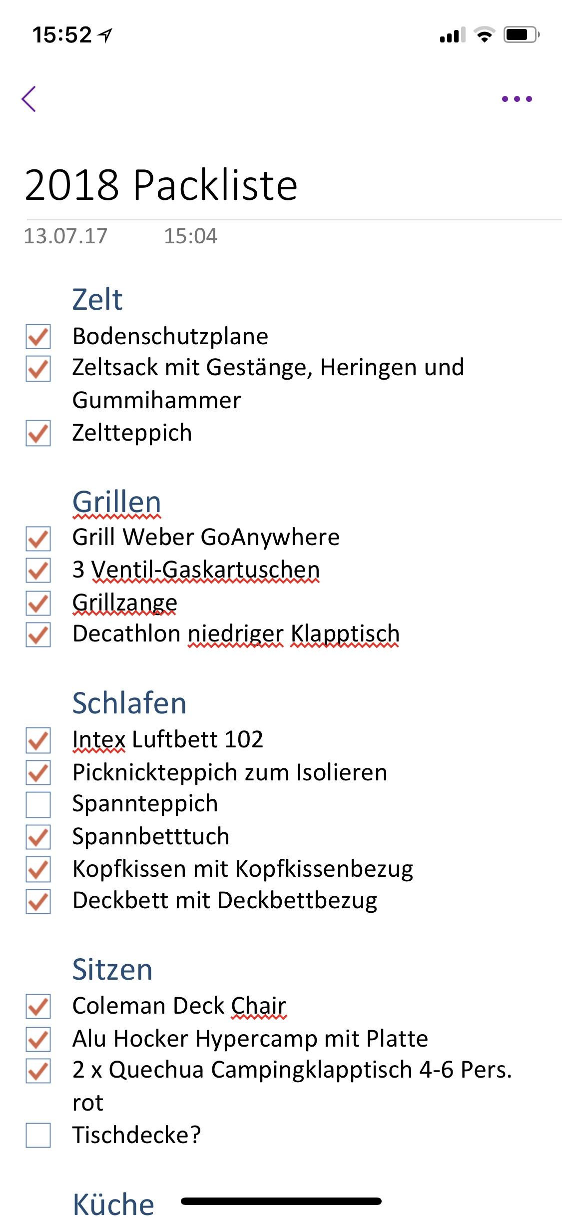 OneNote Packliste