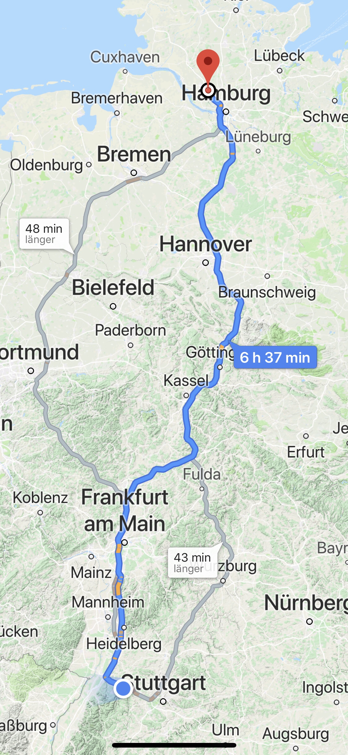 Route von Pforzheim zum Autohof Tornesch